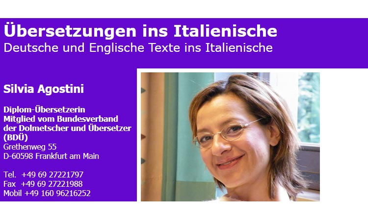 Übersetzungen ins Italienische Silvia Agostini in Frankfurt